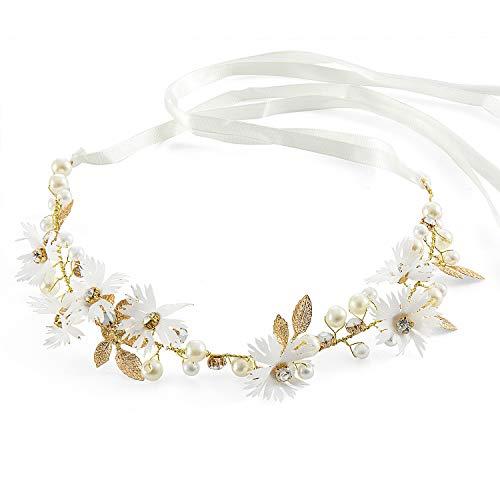Czemo Blumenstirnband Braut Blumenkranz mit Künstliche Blättern,Blumen und Perle Strass Blumen-Haarbänder Braut Hochzeit Haarschmuck für Damen Mädchen (#1)