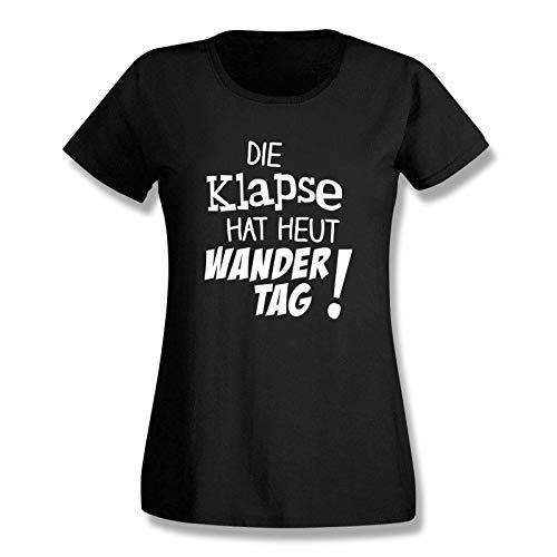 T-Shirt Die Klapse hat heut Wandertag Spruch Feiern lustig Gruppenreise Abschlussfahrt Abi-Feier 15 Farben Damen XS-3XL, Größe:L, Farbe:schwarz - Logo Weiss