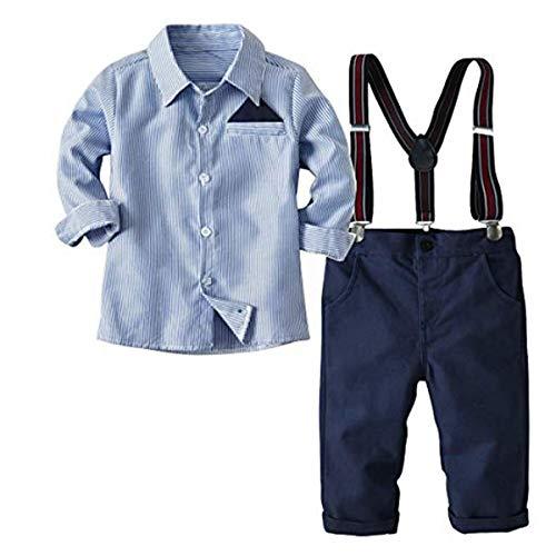 FAIRYRAIN 2-Teiliges Kleinkind Jungen Babyanzug Gentleman Kinder Langarm Hemd + Hose mit Träger Anzug Kleidung, Blau, Gr.130