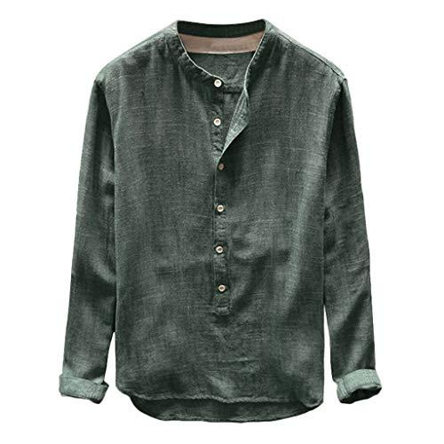 Yowablo Herren Hemd Kurzarm Leinen Freizeithemden Stehkragen Slim Fit Sommer Hemd Casual Lässig Frühling Henley Shirt Langarmshirt (4XL,1Grün)