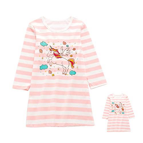 Allmeingeld Baby Mädchen Einhorn Nachthemden & passende Puppenschlafhemden Langarm für Kinder 3 4T