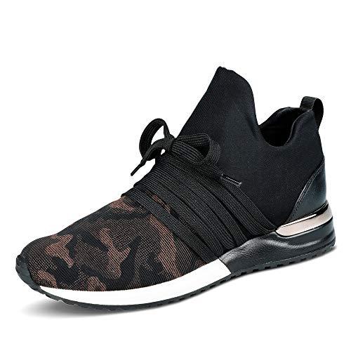 La Strada 1804189 Bronze Camou Damen Sneaker Slipper mit Schnürung und Schlupf, Groesse 39, schwarz/Camouflage