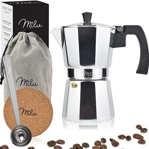 Milu Espressokocher (No Induktion) | 2, 3, 6, 9 Tassen | Aluminium Mokkakanne, Espressokanne, Espresso Maker Set inkl. Untersetzer, Löffel, Bürste (Aluminium, 3 Tassen (150ml)