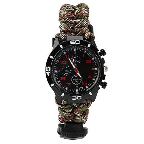 Dioche Outdoor Multifunktions Survival Uhr, 8-in-1 Multifunktions Outdoor Survival Regenschirm Seil Gewebt Kompass Notfalluhr