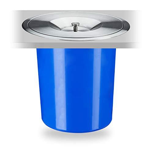 Relaxdays Mülleimer für Arbeitsplatte, 5 l, für Biomüll, Deckel aus Edelstahl, Einbaumülleimer, HxD: 23 x 24 cm, blau
