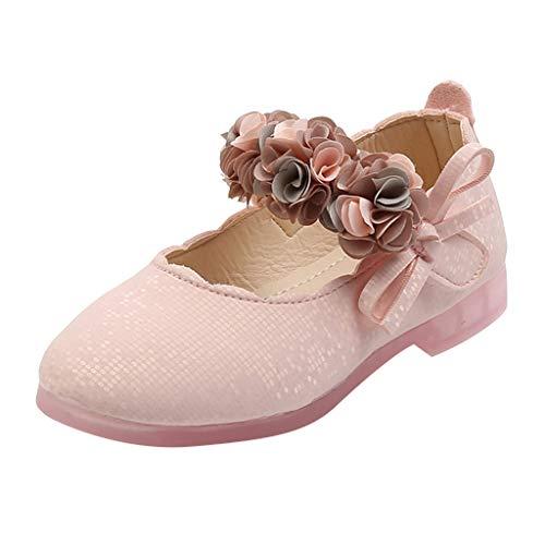 Baby Mädchen Kleine Lederschuhe Weicher Sohle Blumen Leder Lofer Mokassin Prinzessin Schuhe Sandalen, Rosa, 23 EU