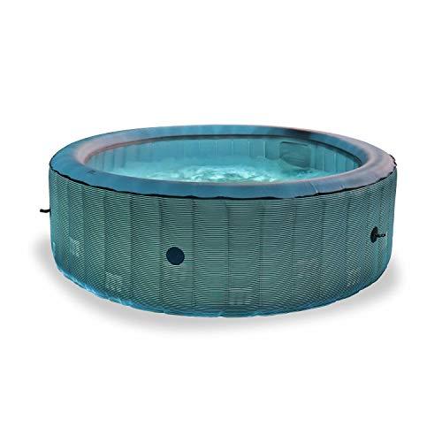 Whirlpool MSPA Aufblasbarer Whirlpool rund – Starry 6 Anthrazit, transparent – Whirlpool für 6 Personen, rund, 205 cm, PVC, Pumpe, Heizung, Luftpumpe, 2 Filterpatronen, Abdeckplane und Fernbedienung