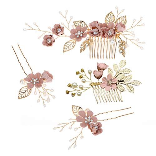 STOBOK 4 Stück Gold Hochzeit Haarkamm Perle Blume Braut Haarschmuck Strass Brautschmuck Kamm Haarspange für die Braut Brautjungfer - Rosa Blume