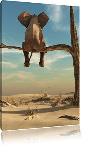 Pixxprint Elefant auf einem AST in der Wüste als Leinwandbild   Größe: 60x40 cm   Wandbild   Kunstdruck   fertig bespannt