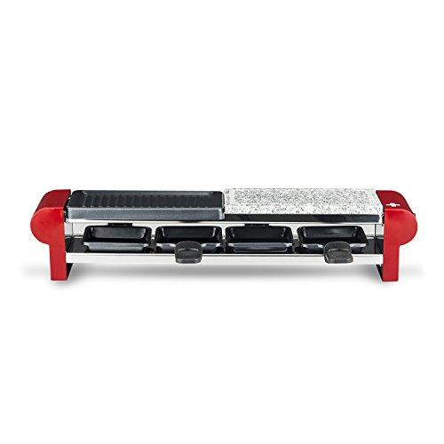 H.Koenig RP4 Raclette-Gerät / 4 Personen / Steingrill und Grillplatte / inkl. Pfännchen / 600 W / rot