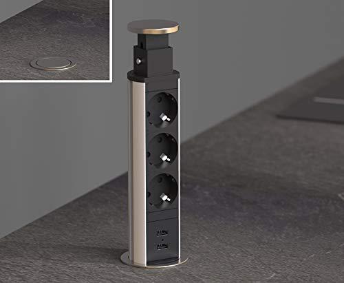 SCHÜTTE 3073 versenkbare Steckdosenleiste für die Arbeitsplatte (2xUSB&3x230VSteckdosen),EinbausteckdosefürdieKüchezumNachrüsten,TischsteckdoseausEdelstahl