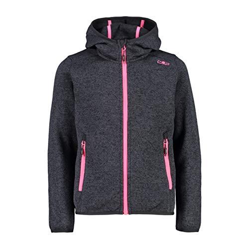 CMP Mädchen Knit Tech mélange Fleece Jacket with Hood Jacke, Asphalt-Black, 164