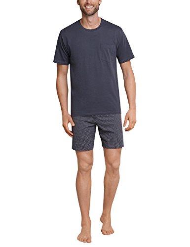 Schiesser Herren KurzZweiteiliger Pyjama kurz Schlafanzug, Grau (Anthrazit 203), 52 /L