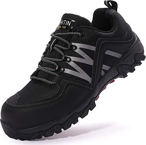 WHITIN Sicherheitsschuhe Arbeitsschuhe Herren S3 mit Stahlkappe Leichte Atmungsaktiv Schuhe männer Sneaker Schutzschuhe rutschfeste stahlkappenschuhe schwarz Größe 42 EU