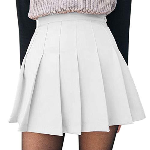 None Branded Damen Mädchen kurzer Rock mit hoher Taille, plissiert, für Skater und Tennis, Schulrock, S-XL, A-weiß, 36