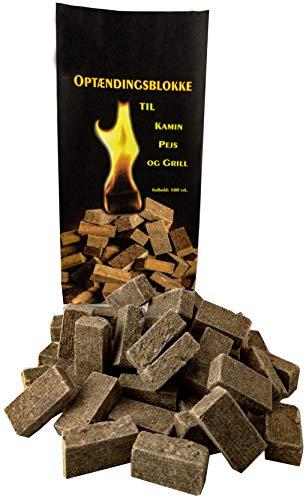 Norr-Dan 100 Stück natürlicher Ofenanzünder aus Holzfaser # Grillanzünder Kaminanzünder Feueranzünder Anzündwürfel Anzündhilfe Holzanzünder