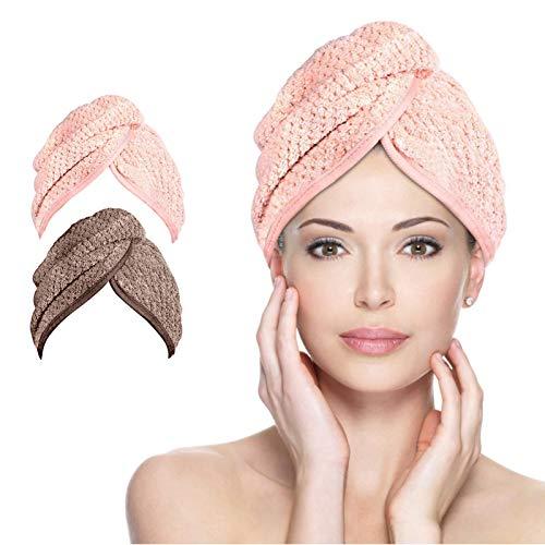 AmzKoi Haarturban, 2 Pcs Microfaser Turban Handtuch Schnelltrocknend saugfähig Haar Handtuch Kopfhandtuch mit Knopf,Haarhandtuch Für Alle Haartypen (Braun & Rosa)
