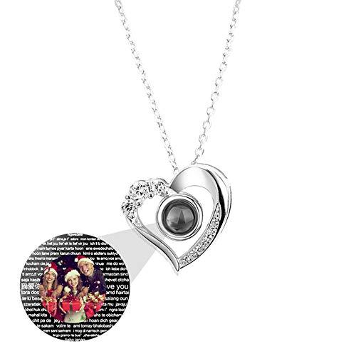 Personalisierte Frau Halskette Foto Halskette Herz Versprechen Projektion Halskette Speicher 100 Sprachen Ich liebe dich Weihnachtsgeburtstagsgeschenk für Frauen(Silber Vollfarbe 20)