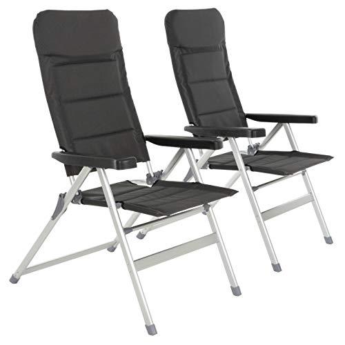 Nexos 2er Set Premium Klappstuhl Relax-Stuhl Campingstuhl Klappsessel – für Garten Terrasse Balkon – klappbarer Gartenstuhl gepolstert Alu - schwarz grau