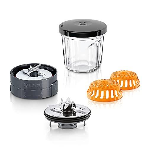 Bosch Zerkleinerer-Set MUZ45XCG1 3-in-1 Multi-Zerkleinerer-Set, Glasbehälter, Hack-Messer, Mix-Messer, Mahl-Messer, schwarz, für MUMX, MUM5, MUM4, MUM Serie 2