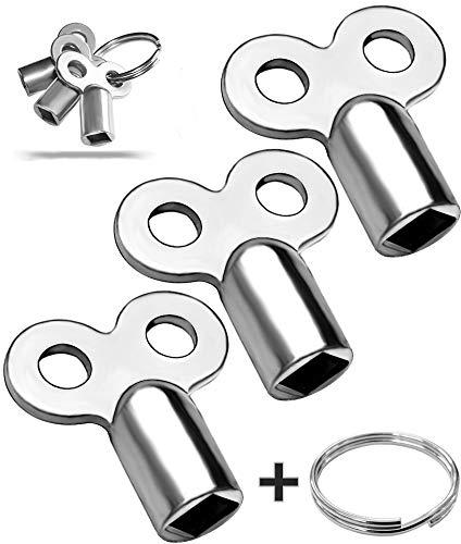 3x Entlüftungsschlüssel   Universal - alle Heizkörper   mit Ring zum Aufhängen   5mm   Zinklegierung   Schlüssel zum Entlüften   Lüften aller Heizungen möglich   radiator key Entlüfter Heizung