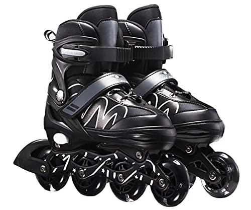 XIUWOUG Herren Damen verstellbare Inliner Inlineskates,Größe 26-42 Unisex Fitness Skates für Erwachsene Rädern Rollschuhe für Jungen Mädchen Anfänger,Schwarz,L (37~42)