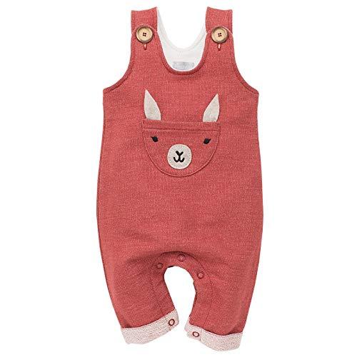 Pinokio - Happy Llama - Overall Baby Mädchen/Jungen - 100% Baumwolle - Latzhose mit Knöpfen Unisex | Ziegelrot Rot | 62,68,74,80,86 (86 cm, Ziegelrot)