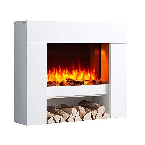 RICHEN Elektrokamin Naran - Standkamin Mit Heizung, LED-Beleuchtung, 3D-Flammeneffekt & Fernbedienung - Elektrischer Kamin Weiß