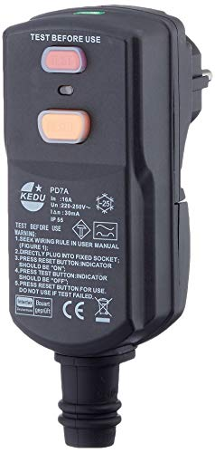 DI-Personenschutzstecker schwarz, für Innenbereich IP55