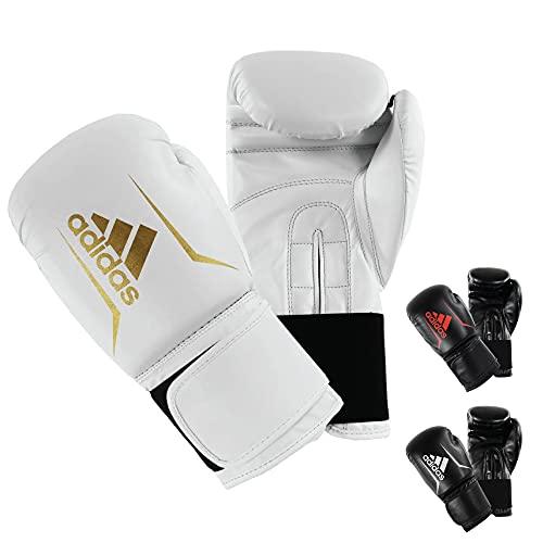 adidas Unisex Speed 50 Gym Fitness Training Workout Sparring Kickboxen Handschuhe Herren Damen Kinder, Unisex, Boxhandschuhe, ADISBG50, Weiß / Gold, 283,5 g (10 oz)