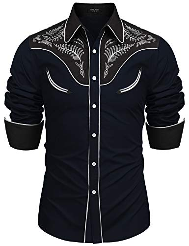 COOFANDY Herren Westernhemd Cowboy bestickt Langarm Button Down Hemd - - XX-Large