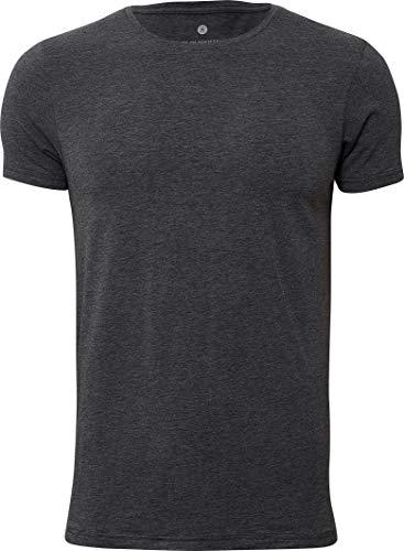 jbs of Denmark T-Shirt Herren Rundhals Dunkelgrau Melange Ultra Soft Touch und hohe Atmungsaktivität durch Bambus-Baumwoll Gewebe (Ohne Kratzenden Zettel) Schnelltrocknend, grau, L