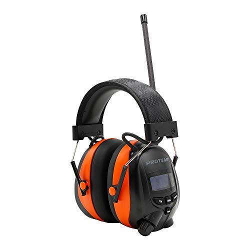PROTEAR Bluetooth Gehörschutz mit DAB / DAB + FM Radio, wiederaufladbare elektrische Gehörschutzkapsel mit Freisprechfunktion, SNR 30dB