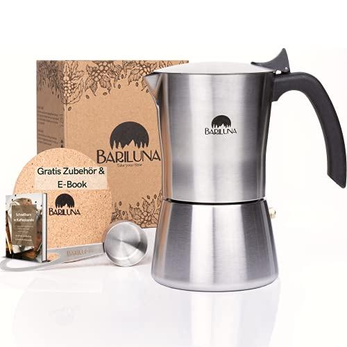 BARILUNA® Premium Espressokocher aus Edelstahl, Induktionsgeeignet, 4-6 Tassen Espresso, 150-300 ml Mokkakocher, Campingkocher, Kaffeekocher mit Zubehör, Alu-frei für Kaffee (4 Tassen, 150 ml)