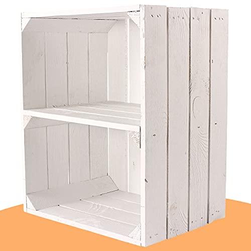 4 weiße Holzkisten mit zusätzlichem (kurzen) Mittelbrett als Schuh- oder Bücherregal 50x40x30cm