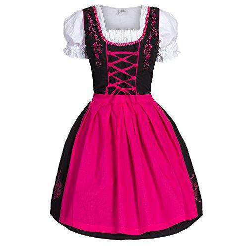 Bongossi-Trade Dirndl 3 TLG.Trachtenkleid Kleid, Bluse, Schürze, Gr. 48 schwarz pink