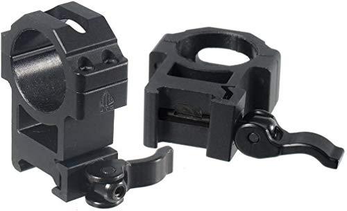 UTG Erwachsene Montage Max Strength Le Grade Quick Detach Picatinny Rings: 2 Pieces, 30 mm Diam, Hi Profile Befestigungsschellen, schwarz, One Size