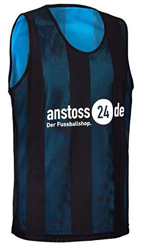 ELF Sports Wende Leibchen mit Druck 'anstoss24.de', Farbe:Schwarz/Türkis, Größe:M-L