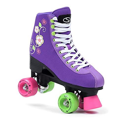 SMJ sport Damen Klassische Retro Rollschuhe | ABEC7 Kugellager | Mint Rosa Mädchen Classic Roller Skates Inliner Inlineskates | Gr. 35, 36, 37, 38, 39, 40, 41 (Lila (Premium), 42)