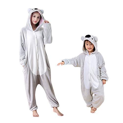 Debaijia Kinder-Pyjama aus Flanell/ Jumpsuit für Jungen und Mädchen, Warme Nachtwäsche, 3 bis 11Jahre Gr. 85(Hauteur recommandée: 85-100cm), Koala, grau