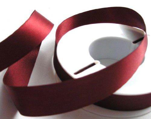 SATINBAND 25m x 25mm WEINROT - BORDEAUX Schleifenband DOPPELSATIN Geschenkband DEKOBAND