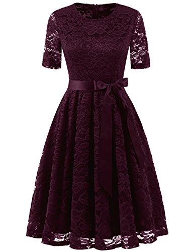 DRESSTELLS Damen elegant Spitzenkleid Kurzarm Rundausschnitt Abendkleid kurz Brautjungfernkleid Weinrots Kleid Burgundy S