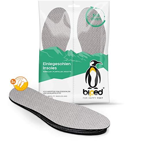 biped 3 Paar Aktivkohle Latex Einlegesohlen - zum Zuschneiden - zur Klimaregulierung, gegen Fußgeruch, für hygienisch frische Schuhe und Füße z2724