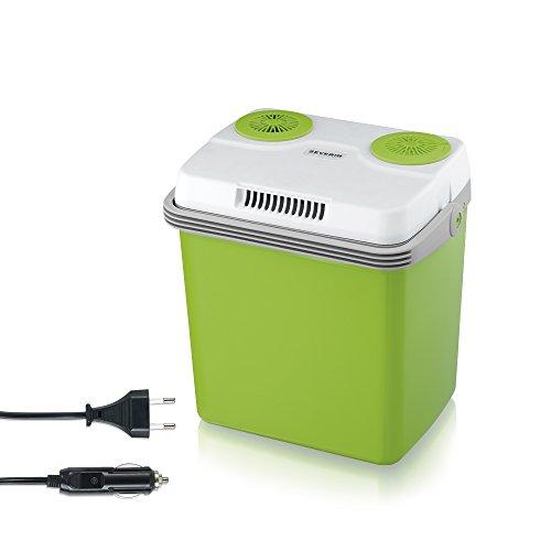 SEVERIN Elektrische Kühlbox (20 L) mit Kühl- und Warmhaltefunktion, Auto Kühlbox mit 2 Anschlüssen (Netzteil & Zigarettenanzünder), Kühlbox grün/grau, KB 2922