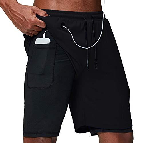 NC Shorts Sommer Herren Sport 2 in 1 Kurze Hosen Schnell Trocknend Laufshorts Fitness Joggen Training Running Sporthose mit Taschen (C Schwarz, L)