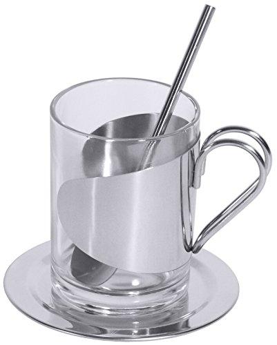 Teeglas-Set mit 0,15 l-Glas, Halter und Löffel aus Edelstahl 18/10, Untersatz aus Edelstahl 18/0 / Inhalt: 0,15 l, Höhe: 8,5 cm   ERK