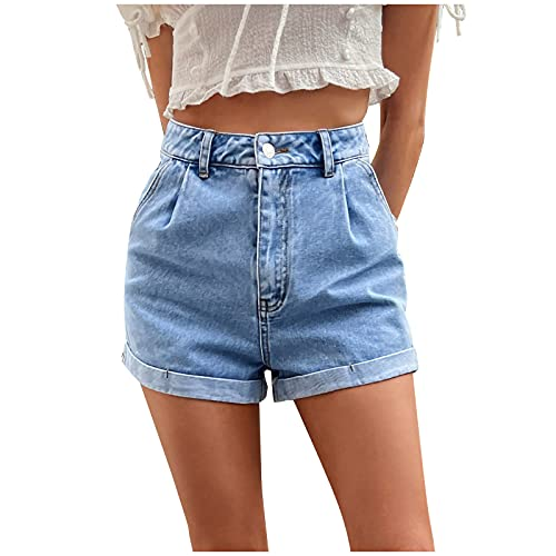 Damen Kurze Denim Shorts High Waist Ripped Jeans Shorts Sommer Kurze Hose Mom Jeans Shorts Mode Mittlere Taille Cowboy Kurze Hose Lässige Shorts High Waist Hotpants Shorts Streetwear Teenager Mädchen