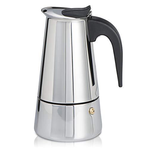 Espressokocher für Induktion Herd (Kaffeekocher für 5 Tassen (250 ml), Mokkakanne aus Edelstahl, Espresso Maker spülmaschinenfest)