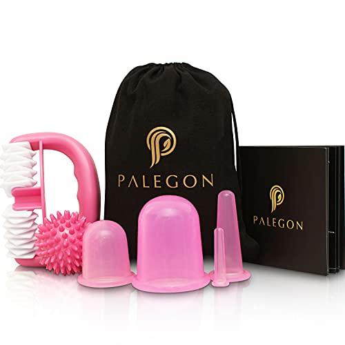 Palegon® Anti Cellulite, Anti Aging Schröpfen Set - 4x Cellulite Saugglocke, 1x Cellulite Roller, 1x Massageball - inklusive gratis Gebrauchsanweisung für strahlend schöne Haut