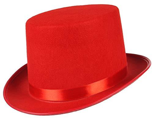 EOZY Zylinder Hut Herren Damen Hoher Hut Erwachsenenhut mit Satinband Top Hat Partyhut für Zauberer Karneval Fasching Kappenhöhe 12cm (Kappenhöhe 12cm, Rot)